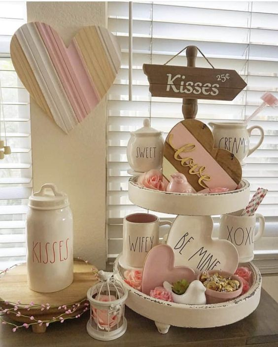 Pink decorations with hearts