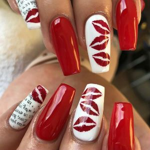 White and red Valentine's nail with lips