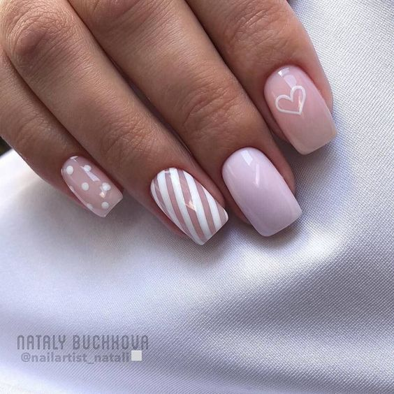 Cute pink Valentine nails that are short