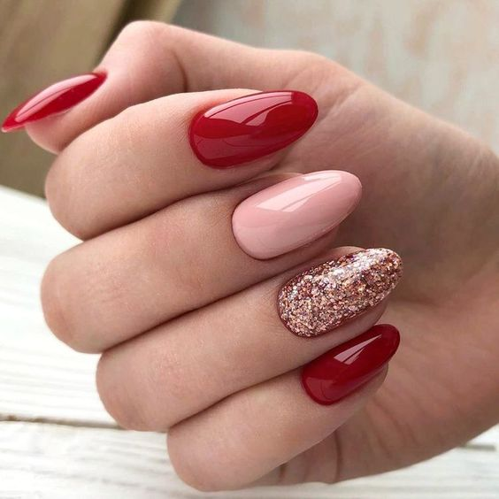 Cute pink and red Valentine nails that are short