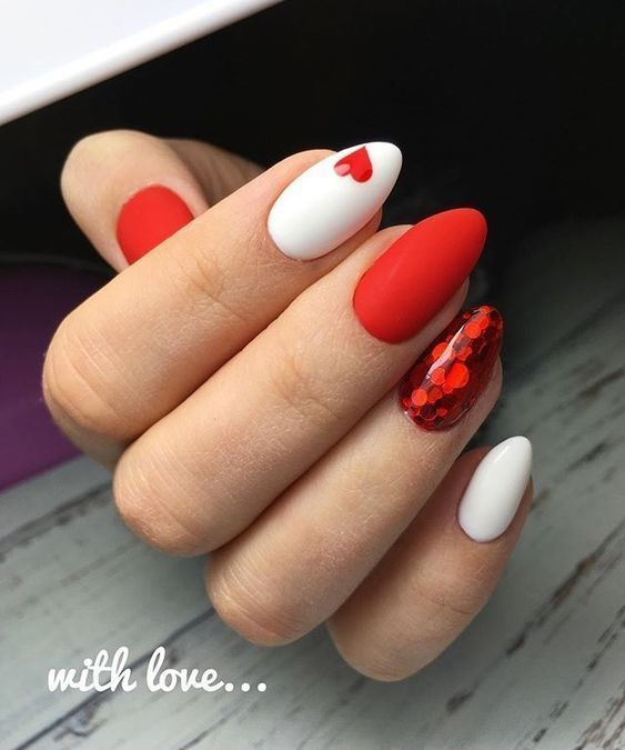 Cute white and red Valentine's day nails
