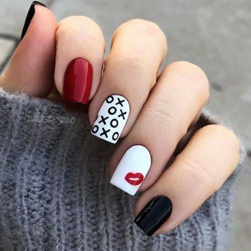 White, red and black Valentines nails with xoxo
