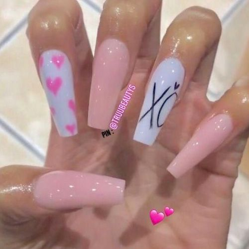 White and pink acrylic Valentine's day nails
