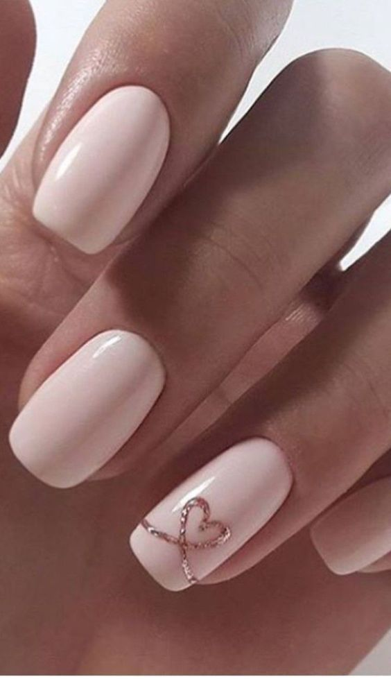 Simple Valentine nails with light pink heart