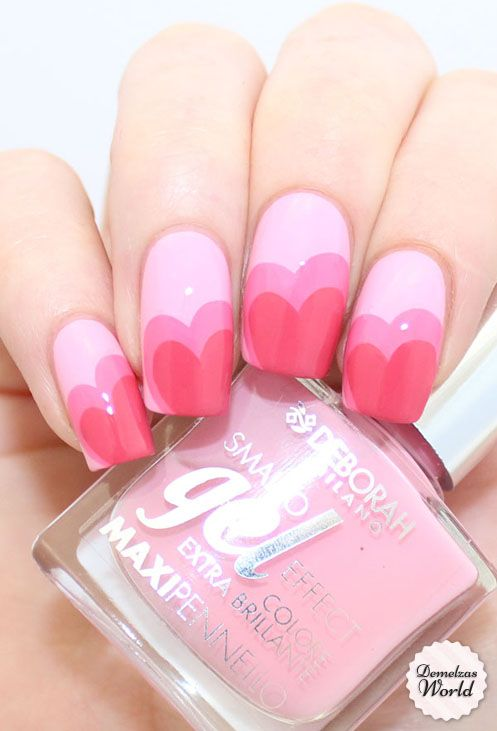 Red and pink heart nail art designs