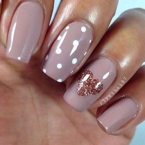 Simple Valentine's nails with heart