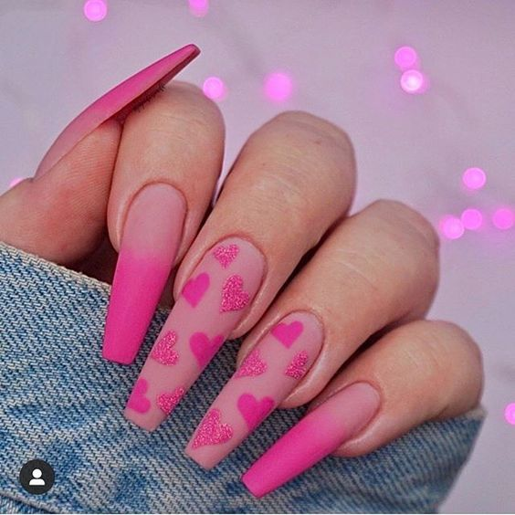 Cute pink acrylic Valentine's day nails with heart nail art