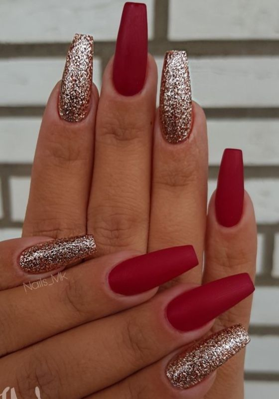 Glitter and red Christmas nails