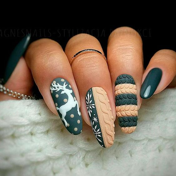 Matte textured nails with green and Reindeer decals