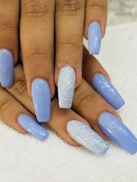 Blue winter acrylic nails with glitter