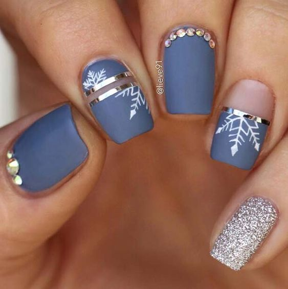 Blue winter nails with snowflakes