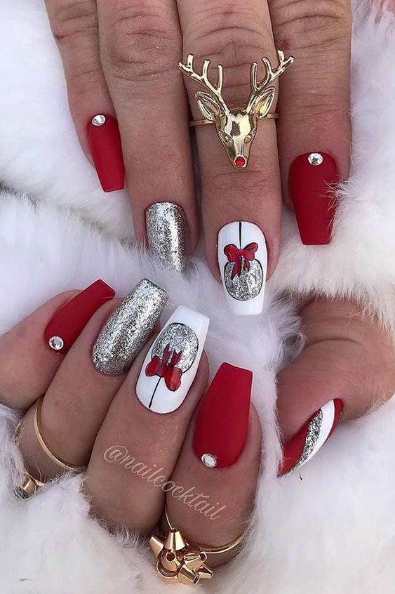 White and red Christmas nail art with baubles