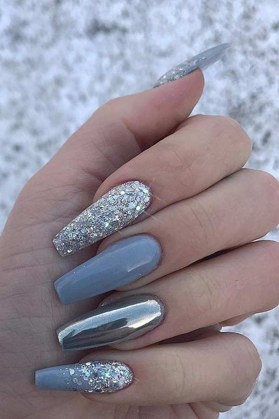 Grey winter nails with glitter and metallic shine