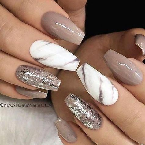 Taupe and white marble nails