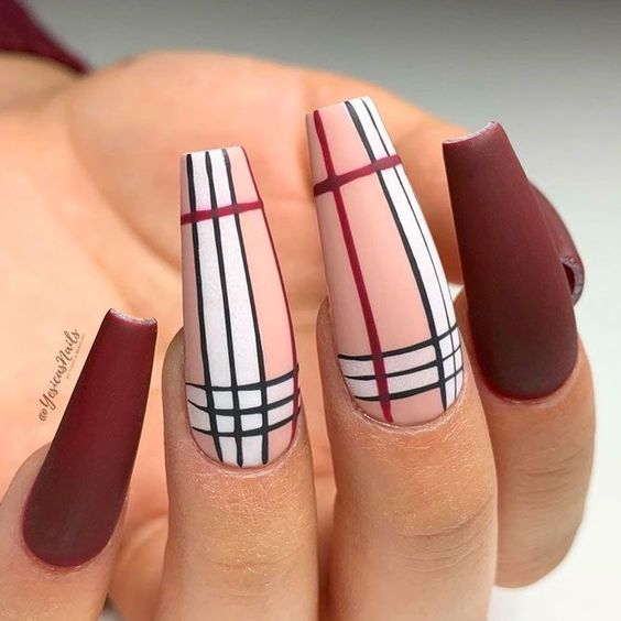 Burgundy Burberry nails with plaid nail art
