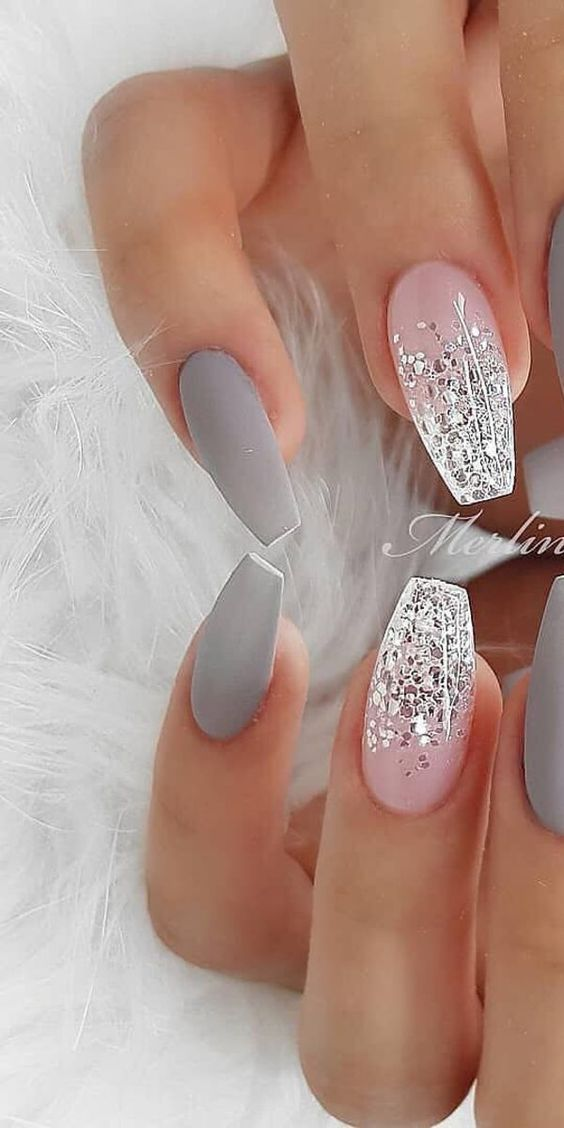Glitter and grey winter nails by Merlin Nails