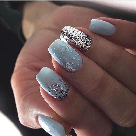 Gray winter nails with snowflakes
