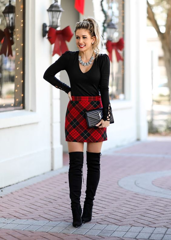 Cute Christmas outfit with skirt and over the knee boots