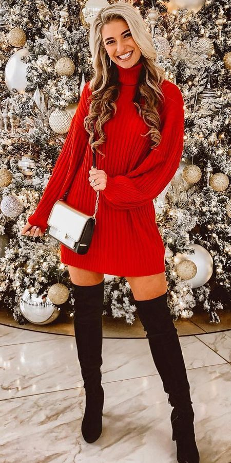 Cute Christmas outfits for women with over the knee boots