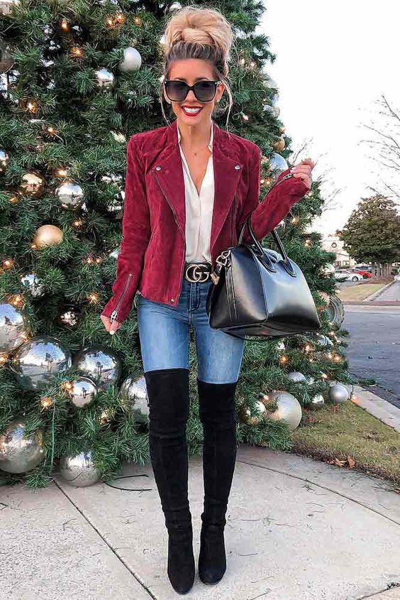 Business casual Christmas looks with over the knee boots