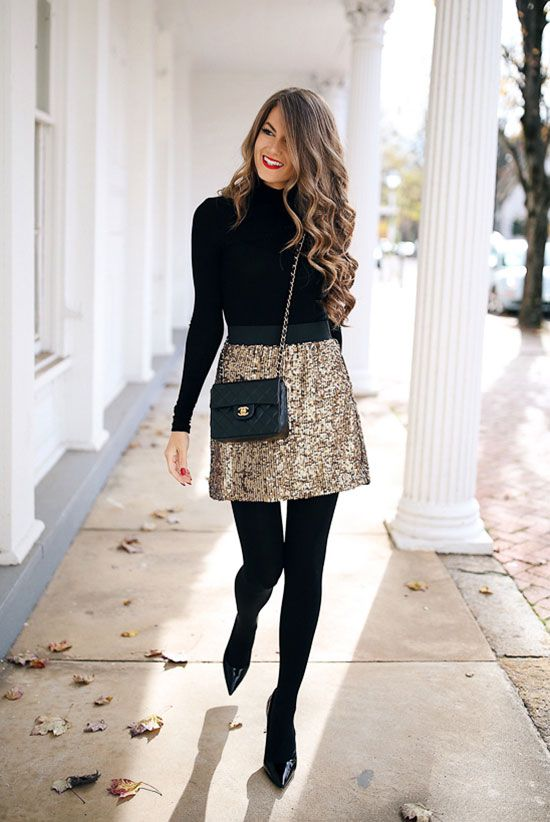 Cute Christmas outfits, Christmas party outfits, gold skirt outfits and New Year's Eve party outfits