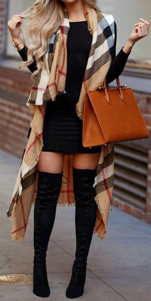 Casual over the boots outfits with Burberry scarf