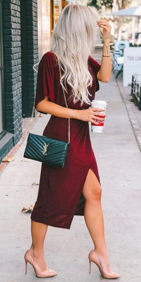 Classy Christmas party outfits with dress