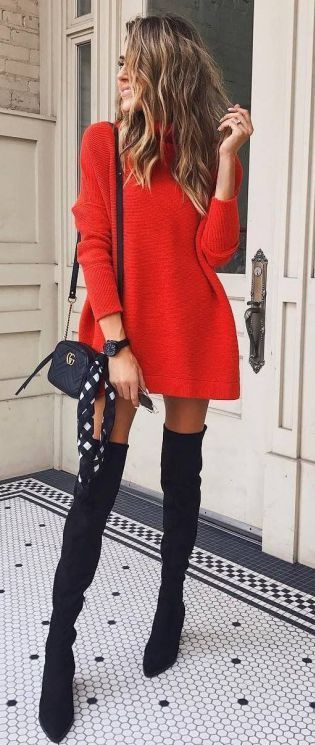 Cute Christmas outfits with over the knee boots