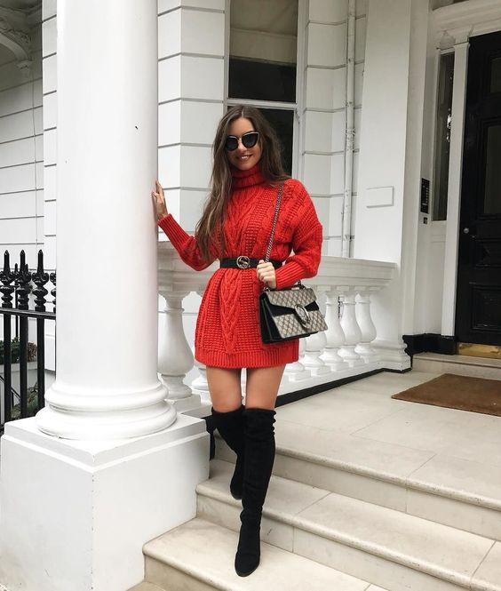 Casual and cute Christmas outfits with dress and over the knee boots