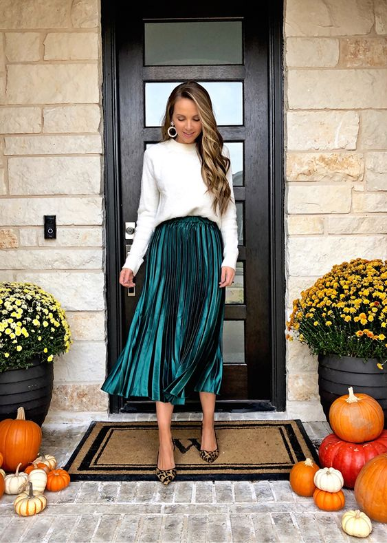 Green metallic skirt outfit - New Year's Eve party outfits