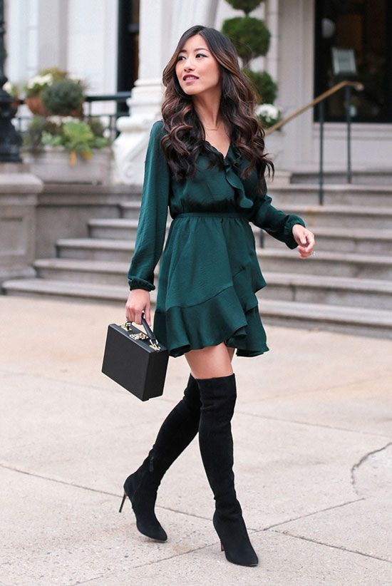 Cute green Christmas outfits for women with over the knee boots