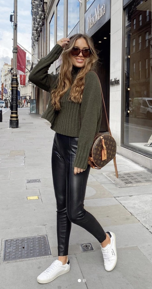 Cute Thanksgiving outfits with olive sweater, black leggings and Louis Vuitton bag