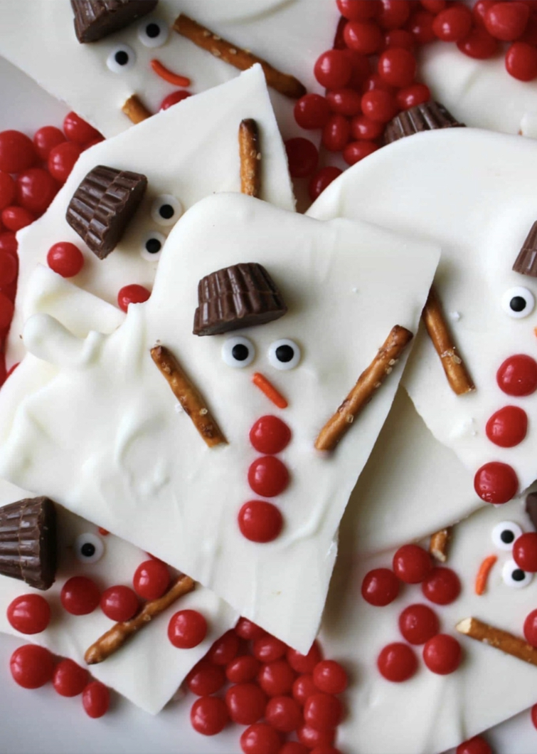 Melted Snowman Chocolate Bark - perfect Christmas candy for kids