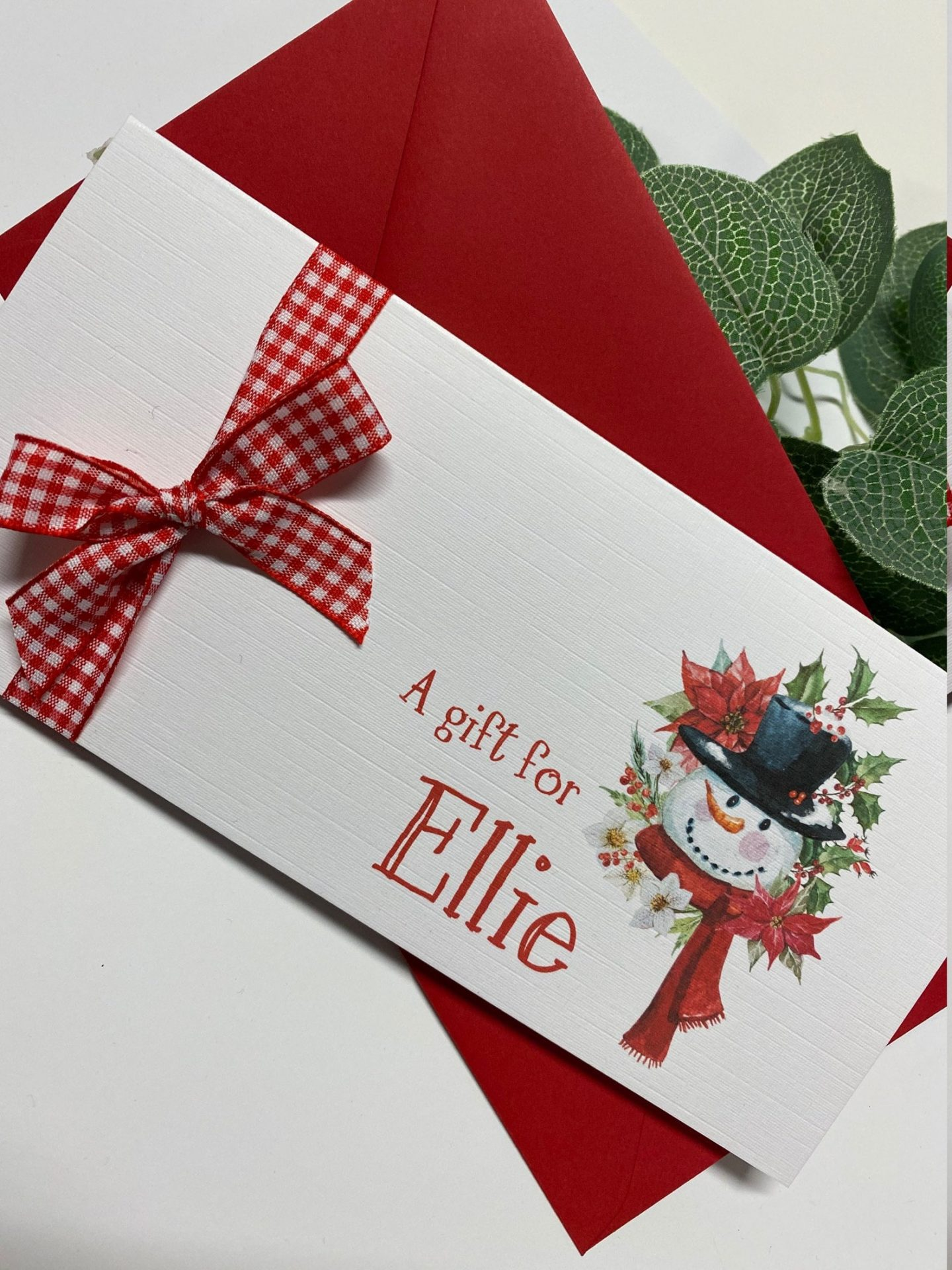 Personalized Snowman Money Gift/Wallet