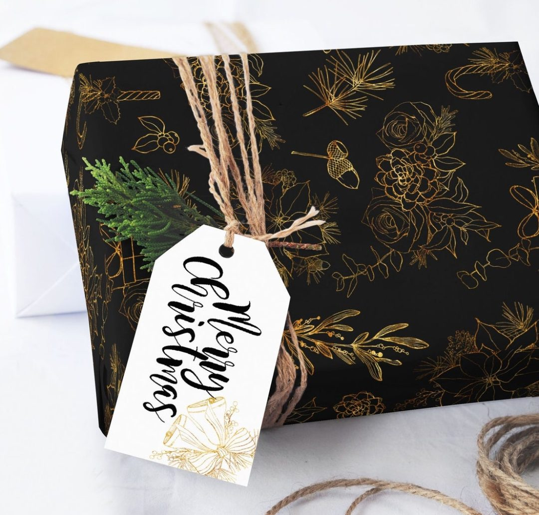 Matte Black With Gold Christmas gift wrapping paper