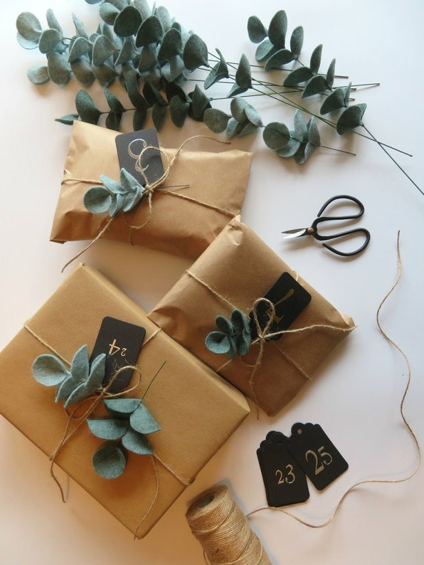 Brown Paper & Eucalyptus Gift wrapping idea