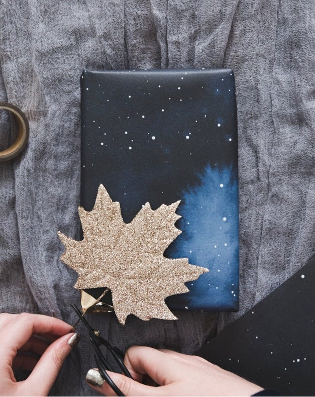Midnigh Sky gift wrapping idea with gold glitter maple leaf