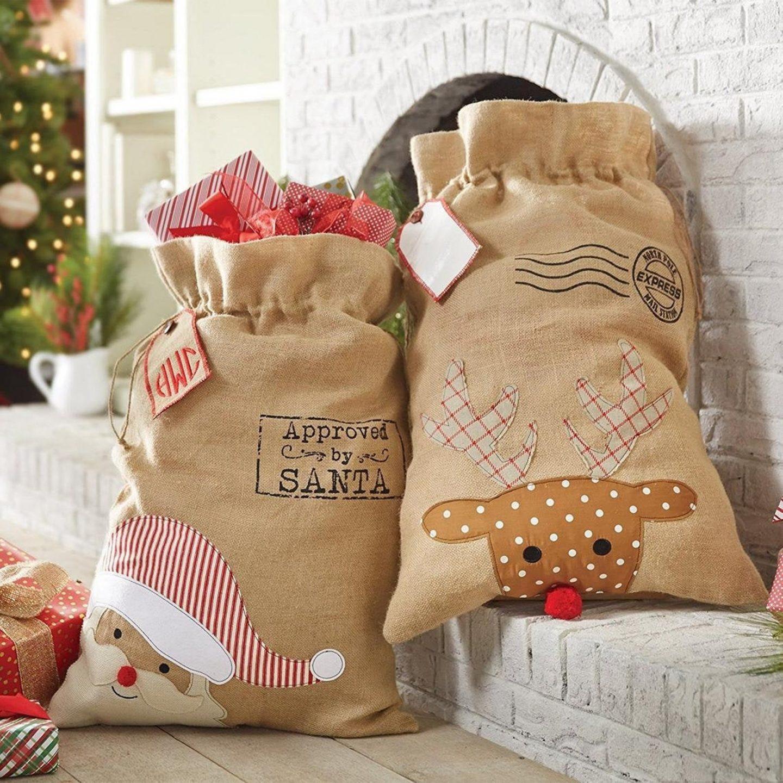Burlap XL Santa & Reindeer Christmas Bags