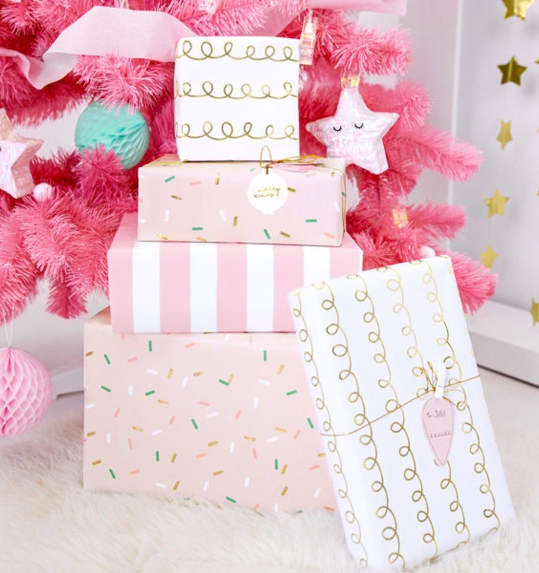Cute pink Christmas wrapping paper