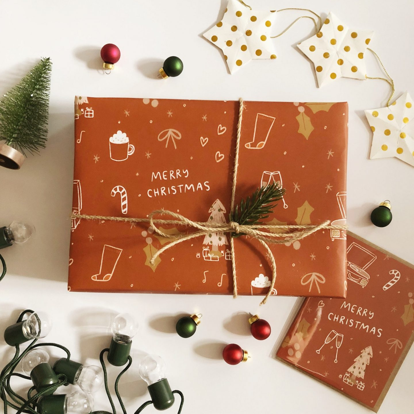 Rustic Brown gingerbread gift wrapping paper