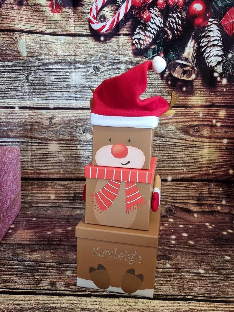 Brown teddy bear Christmas gift boxes