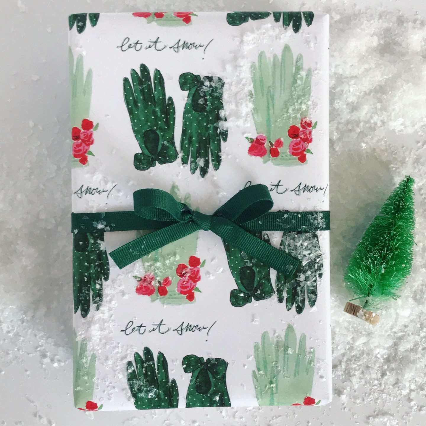 Forest green Christmas gift wrapping paper