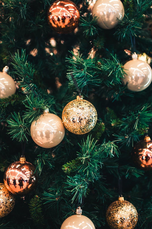Gold Christmas bauble aesthetic wallpaper