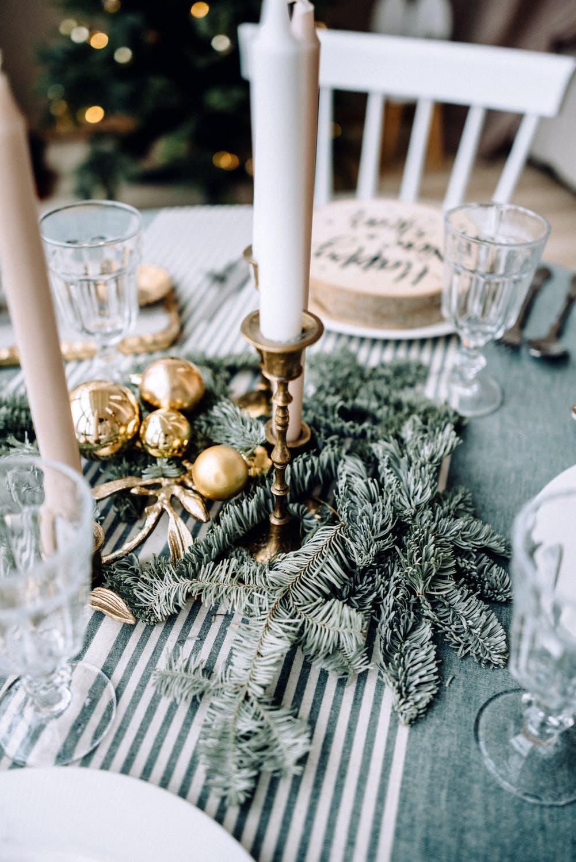 Christmas wallpaper aesthetic with Christmas table settings