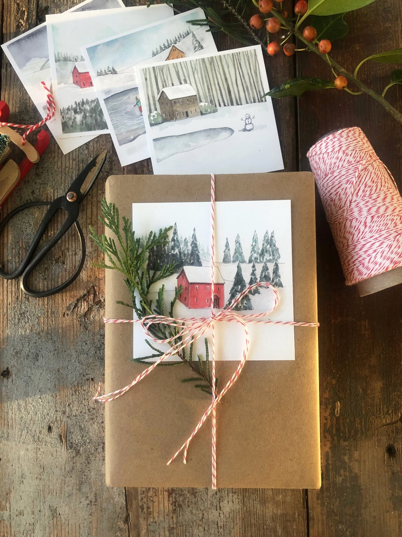 Brown paper gift wrapping ideas with watercolor tags