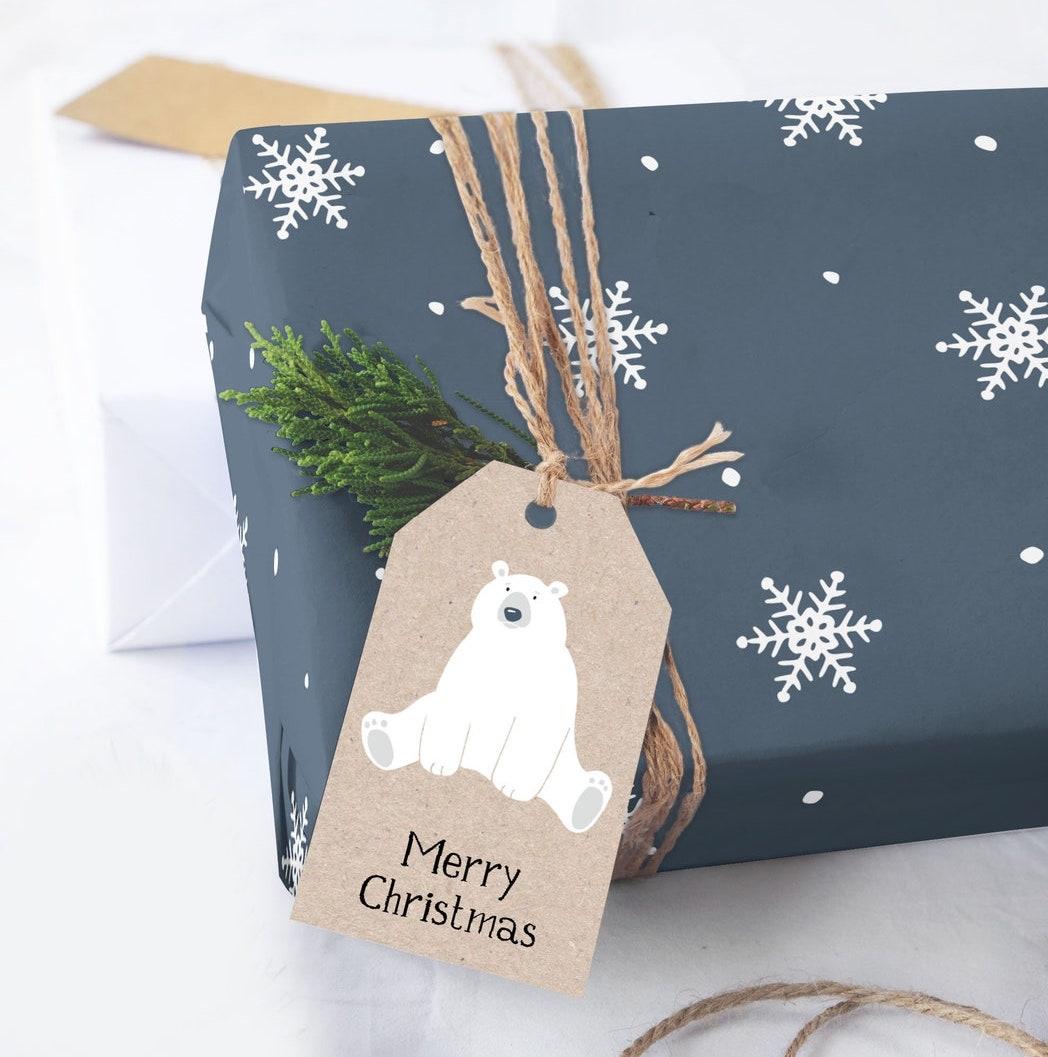 Snowflakes & Polar Bear Christmas gift wrapping