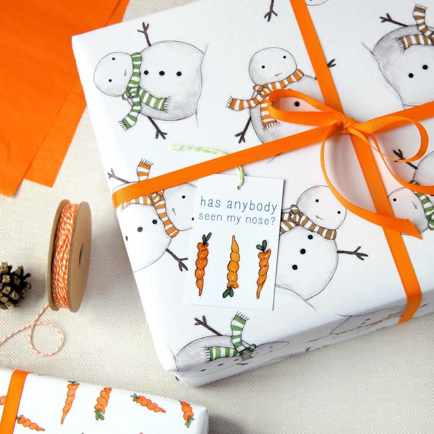 Cute snowman gift wrapping paper