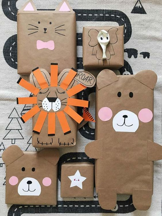 Cute brown paper animals Christmas wrapping idea