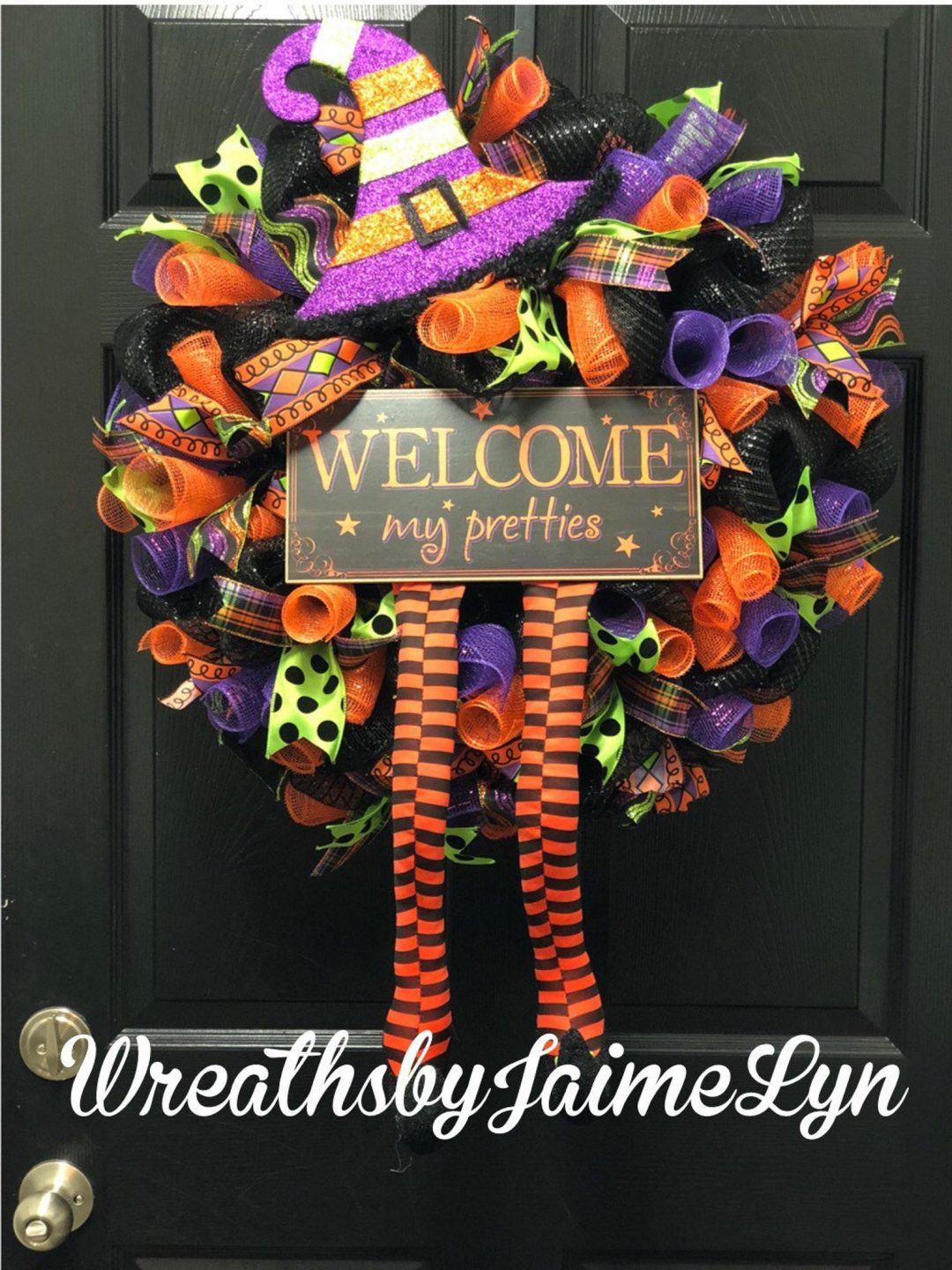 Purple and orange witch wreath for Halloween