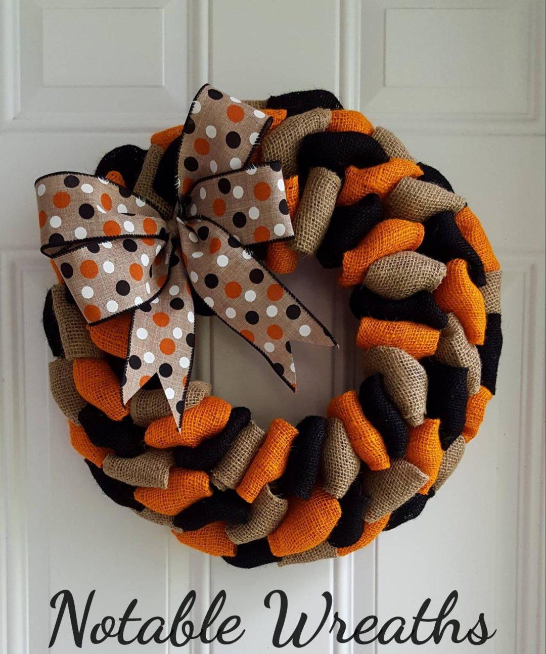 Black and orange burlap Halloween wreaths